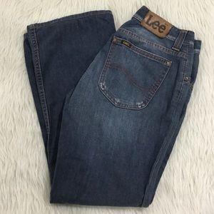 Vintage lee distressed bootcut jeans